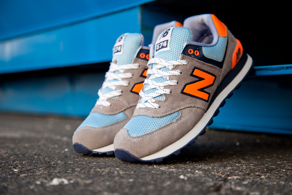 new balance 574 orange and blue