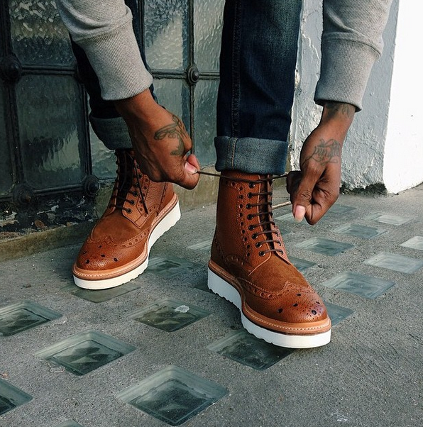 Tan And White Wingtip Shoes