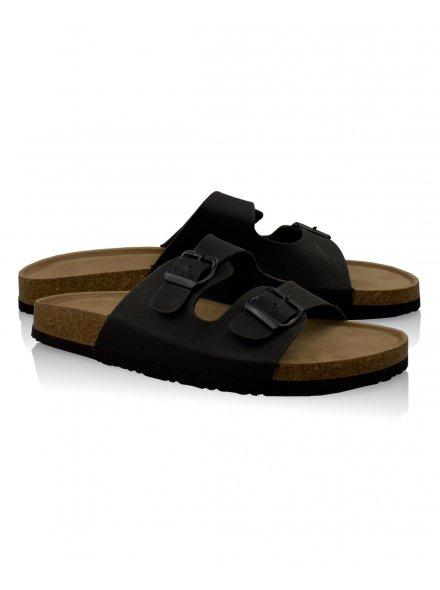 Black Double Buckle Wood Effect Sandals £12.99