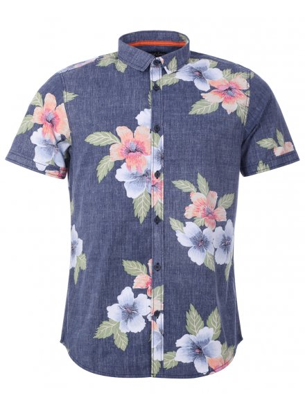 Navy Reverse Print Hawaiian Short Sleeve Shirt £14.99