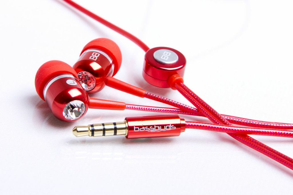 BassBuds headphones earphones red crystal
