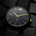 The Solitude Black Gold Watch by Lord Timepieces