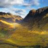 Glen Coe Scotland in sunlight