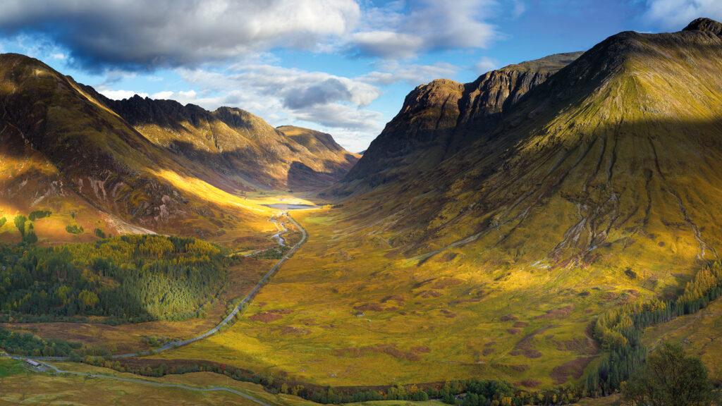 Glen Coe Scotland in the sun