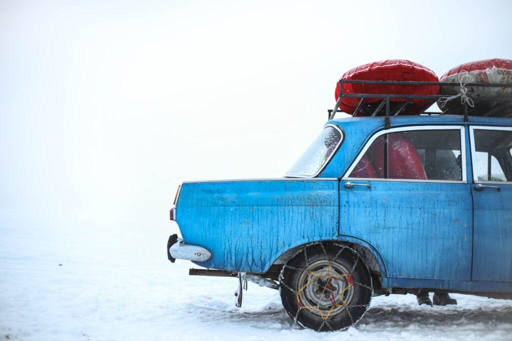 retro car in snow